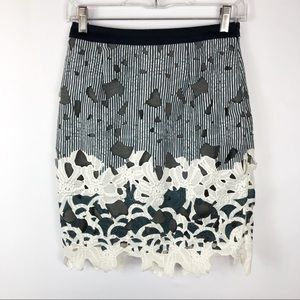 Maeve Anthropologie Lace Straight Skirt